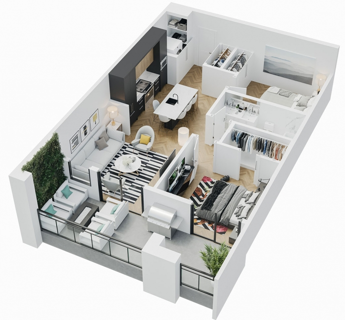 Esquire - 3D Floor Plan - A2