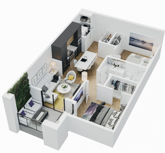 Esquire - 3D Floor Plan - A4