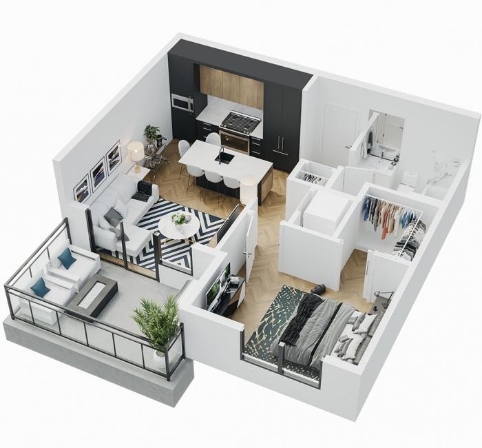 Esquire - 3D Floor Plan - A7