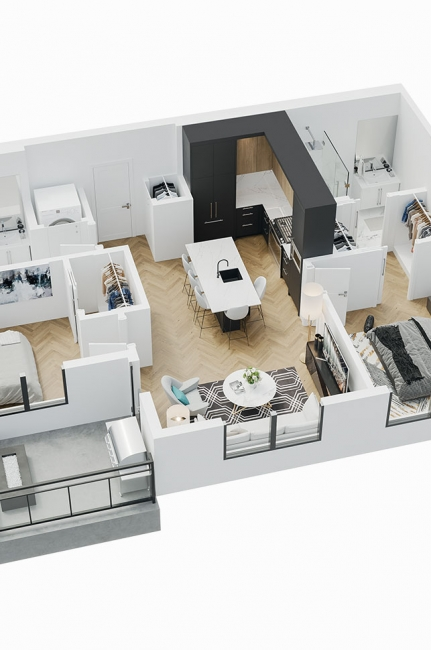 Esquire - 3D Floor Plan - B1